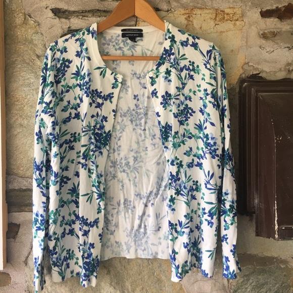 Lands End White/Blue Floral Print Cardigan, Sz M